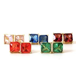 Wholesale Fashion Brand Colors Stud Earrings Women Jewelry Gold Kate New York Square Earrings Obsessed Party Earrings