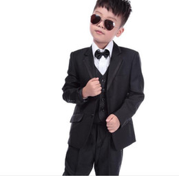 Gray Suit Champagne Tie NZ - Boy's Formal Wear Children Suit Boys Dress Suit Flower Suit Wedding Stage Performance Clothing Children Tuxedos (Jacket+Pants+Vest+Tie)