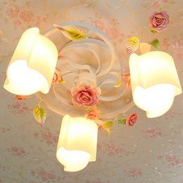 Pastoral Flowers Princess Room Ceiling Lamp Fixtures Romantic Living Room Ceiling Lights Dining Room Bedroom Ceiling Lamps Romantic Bedroom Light Fixtures