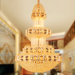 Discount hotel lobby chandeliers - Modern Crystal Chandeliers Golden Crystal Chandelier Lights Fixture Long LED Lamps Hotel Lobby Luxury Shining Villa Home