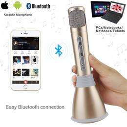Record Music Computer Canada - K068 Karaoke Player Wireless Bluetooth Music Condenser Microphone With Mic Speaker KTV Singing Record For Phones 6 6s 7 7plus Computer B1042