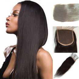 $enCountryForm.capitalKeyWord NZ - Brazilian Lace Closure 4X4 top lace closure Unprocessed natural color Bleached Knots Lace Closure Yaki straight Vrign Hair