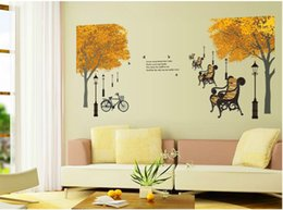 bicycle life NZ - Street Lamp Chair Maple Wall Sticker DIY Wall Decal Bicycle Wall Paper Free Shiping Vinyl Maple Tree Sticker Room Decoration