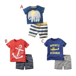 Discount elephants baby - PrettyBaby New arrival short sleeve Casual Cotton boys plane anchor elephant t shirt casual striped shorts outfits for b