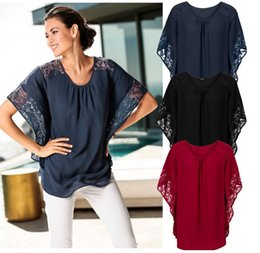Mangas Murciélago Cuello Redondo Baratos-Charm Mujeres Tops Blusas Chiffon Crew Neck Lace Paneled Bat Manga Lace Loose Solid Color Mujeres Tops Blusas Camisas