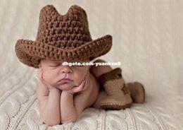 Baby Newborn Cowboy Hat Canada - Newborn Baby Photography Prop Crochet  Knitted Cowboy Hat Star Boots 307245ea3c1