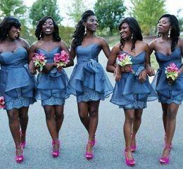 $enCountryForm.capitalKeyWord Canada - 2019 Short African Bridesmaid Dresses Knee Length Lace Organza Sheath Ruffles Backless Maid Of Honor Dress Custom Made Wedding Guest Gown