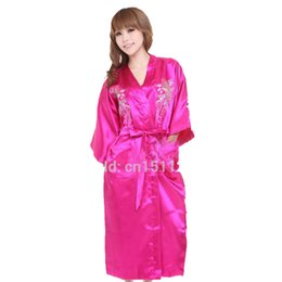 Wholesale- Burgundy Silk Embroidery Flower Kimono Bathrobe Gown Women Sexy Satin  Robe Long Nightgown Size S M L XL XXL XXXL 8fcdc5fac