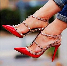 2016 New Fashion Designer Two-Tone Slingback Sandal 100mm Red Patent  Leather T-Strap Pumps Women Rivets High Heels Ladies Shoes d4c46a153b