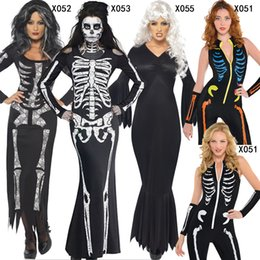 Discount scary woman costumes - New Arrival Adult Halloween Party Costume Scary Devil Ghost Cosplay Women Skull Skeleton Prints Leotard Catsuit Costume