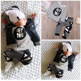 $enCountryForm.capitalKeyWord Canada - high quality baby boys sets HEY YOU words printed striped tops tshirt+pants 2 pcs suits long sleeve tshirt children boy girl cool Clothes