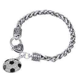 ball claw free shipping Canada - Free shipping Black Enamel White Crystal Stone Heart Shape Soccer Ball Charm Lobster Claw Bracelet Sports Jewelry