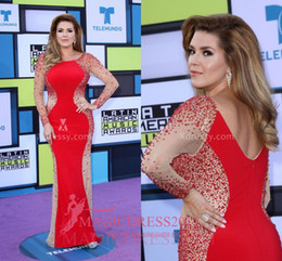 Robes De Soirée En Cristal Américain Pas Cher-Alicia Machado Sequin Illusion Red Prom Robes de soirée Latin American Music Awards 2016 Mermaid Long Sleeve Beaded Party Celebrity Gowns
