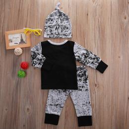 Fashion Suits England Canada - 2016 baby boy girl 3PCS suits european style fashion shirt+hat+pants legging children boys outfits Sets infant cotton suit Newborn Clothes