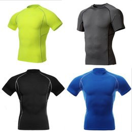 camp wear 2018 - Wholesale-Men Compression Wear Under Base Layer Tops Tight Short Sleeve Sports T-Shirts New Arrival discount camp wear