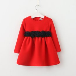 Chicas Dulces Coreanas Baratos-Everweekend Kids Girls Sweet Pink Color rojo Princess Lace Vestido floral Flores Korean New Spring Vestido de fiesta lindo