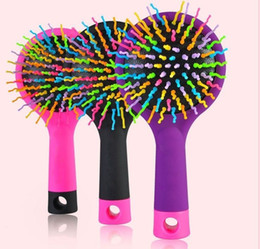 Hot Pink Hair Combs Canada - 2016 hot sale New Rainbow Volume Anti-static Magic Hair Curl Straight Massage Comb Brush Mirror Hair Styling Tools Hot