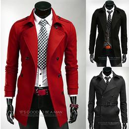 Dark Red Trench Coat Men Online | Dark Red Trench Coat Men for Sale