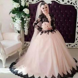 $enCountryForm.capitalKeyWord NZ - Vintage Muslim Pink Black Ball Gown Wedding Dresses High Neck With Long Sleeves Court Train Plus Size Arabic Bridal Gowns