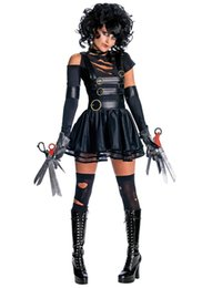 China Halloween Costumes for Women Edward Scissorhands Secret Wishes Sexy Miss Cosplay Cool Costume off shoulder Black Dress Terror Stage Uniform suppliers