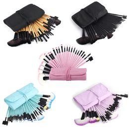 $enCountryForm.capitalKeyWord Canada - Professional 32 Piece Purple Black Blue Soft Cosmetic Eyebrow Shadow Makeup Brushes With Bag Case