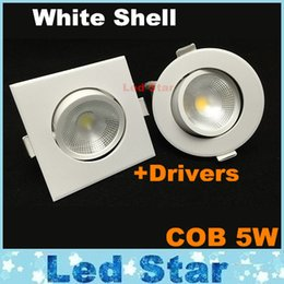 Wholesale Dimmable Led COB Downlights Round Square 5W Led Down Lights Recessed Ceiling Lighting AC 110-240V CE UL SAA