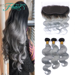 dark grey hair dye Canada - Ombre Hair Weaves With Lace Frontal #1B Grey Dark Root Ombre Body Wave Ear To Ear Full Lace Frontal With Bundles 4Pcs Lot