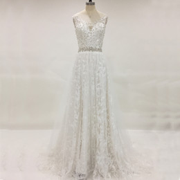 Barato Vestido De Noiva De Corset Puro-2017 Sparkly Country Wedding Dress A Line Sheer Neck Beads Sequins Crystal A Line Lace Corset Bridal Gowns cinto removível