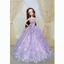 Pvc Outfits Dresses Canada - 2016 Shipping Purple Handmade New Sweet Wedding Gown Dresses Outfit Girl Party For Princess Doll Xmas Gift