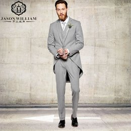 Barato Caudas De Blazer-Atacado- LN091 Silver Notched Lapel Groom Suits Tail Coat Três bolsos Groom Tuxedos One Buttons Hot Best Man Tuits Blazer 3 peças