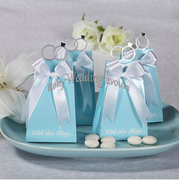 "Sky Blue Ring NZ - FREE SHIPPING 50PCS ""with this ring"" Blue Candy Boxes with RIBBON Party Favors Boxes Wedding Favors and Party Supplies"