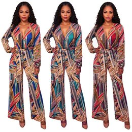 Barato Jumpsuit Clubwear Perna Larga-Womens Outono Moda V-Neck Loose Long Sleeved Floral Flower Print Wide Leg Shortsuit Ladies Casual Casual Clubwear