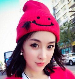 743561d4300 Wholesale-New women autumn winter smiley tassel wool hats designer couple  warm knitting hedging caps MZ-37 for women free shipping