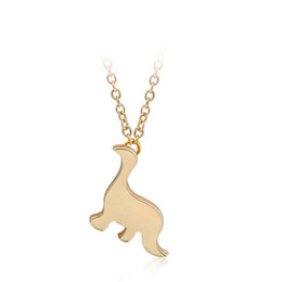 vintage metal necklaces UK - Vintage Dinosaur Necklaces Women Men Jewelry Extreme Simplicity Metal Animal Pendant Necklace Gold Silver Color New Arrival