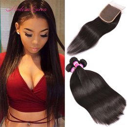 Pièces De Machines Peu Coûteuses Pas Cher-Peruvian Straight Human Hair Weave 4 Bundles avec fermeture à lacets Free Three Medium Part Wholesale Soft Cheap Straight Peruvian Hair Extensions