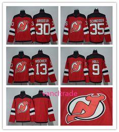2017-2018 Season New Jersey Devils Jersey 9 Taylor Hall 13 Nico Hischier 30  Martin Brodeur 35 Cory Schneider Red Hockey Jerseys 4d0b1ba77