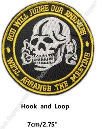 skull patches wholesale Canada - God Will Judge Our Enemies Patches Skull Biker MULTICAM TACTICAL COMBAT BADGE MORALE SWAT Hook and Loop Embroidered Halloween