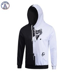 Sombrero Blanco Del Animal Del Gato Baratos-Hip Hop Otoño Invierno Thin Hoodies con sombrero Hombres / Mujeres Hip Hop 3d Sweatshirt Print Half White and Black Cat Hoodies con capucha