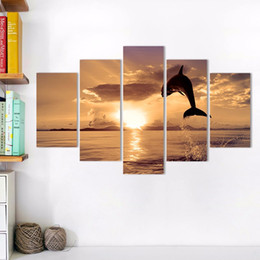 $enCountryForm.capitalKeyWord Australia - Big size 5pcs set sea sun dolphin decoration gold seascape wall art pictures landscape Canvas Painting for living room unframed
