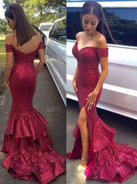 $enCountryForm.capitalKeyWord NZ - Sparkly Burgundy Sequins Prom Dresses 2016 Off Shoulder Front Split Ruffles Long Modest Evening Party Special Occasion Gowns For Woman Cheap