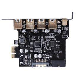 Venta al por mayor de Freeshipping USB 3.0 tipo-c Tarjeta de expansión PCI Express de 4 puertos con interfaz de poder sata Energía de 19 pines para PC para Win8 / 8.1 / 10