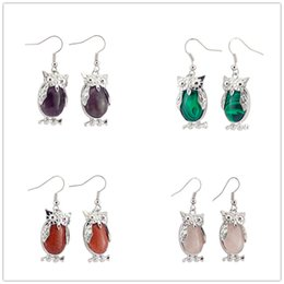 China 2016 Natural Crystal Stone Owl Dangle Earrings Fashion Vintage Gemstone Rock Crystal Quartz Healing Charms Earings for women Silver ES-A008 cheap natural crystal healing rocks suppliers