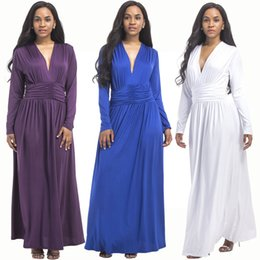 plus size dress code NZ - sexy, fashion, noble, youth, beautiful, big code Maxi Dresses Plus Size Solid color V-Neck Long Sleeve F3P105