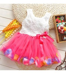 $enCountryForm.capitalKeyWord Canada - babies clothes Princess girls flower dress 3D rose flower baby girl tutu dress with colorful petal lace dress Bubble Skirt baby clothes K150