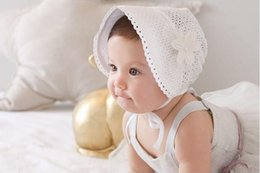 Sombreros Blancos Del Gorrito Del Bebé Del Algodón Baratos-Sweet Princess Hollow Out Baby Girl Sombrero Summer Lace-up Beanie Rosa / Blanco Algodón Bonnet Enfant para 0-12M