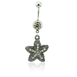 star piercings Australia - Wholesale Fashion Belly Button Rings 316L Stainless Steel Dangle White Rhinestone Retro Star Navel Rings Piercing Jewelry