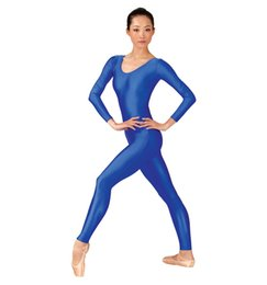 Dragueurs De Danse Pas Cher-Vente en gros adulte-Basic Blue Nylon Scoop Neck Womens manches longues Unitards Footless Spandex Danse Unitard Costume gymnastique Bodys Ladies
