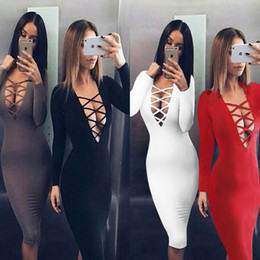 Robe Longue Et Mince Pas Cher-Fashion Women Lady Bodycon Slim Pencil Dress Ladies Evening Party Nightclub Bandage Dress Long Sleeves Casual Robes Womens Clothing