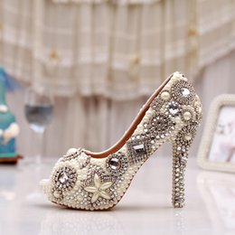 bridal peep toe heels NZ - New Arrival Rhinestone Peep Toe Pumps Women Pearl Crystal Bridal Shoes Handmade Ivory Glitter Diamond Wedding Party Prom Heels