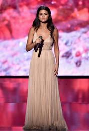 $enCountryForm.capitalKeyWord NZ - Selena Gomez 2018 Hot Cheap Prom Dresses Scoop Neck Long Champagne Chiffon Tulle Split Plus Size Evening Dress Party Dress Celebrity Gowns
